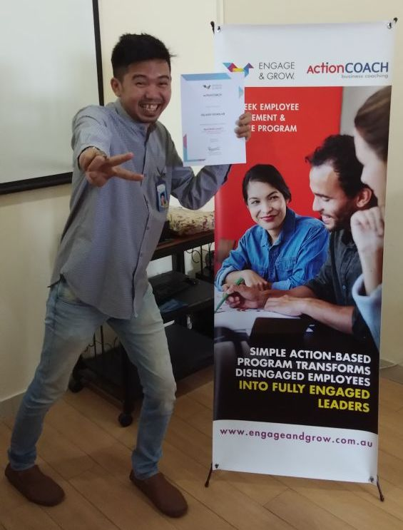 "Nama : Gilang Gumilar Divisi : IT (Information Technology) Selamat telah mendafatkan sertifikat ""RED BELT LEVEL 1"" Dari Engage & Grow – Action Coach ""Business & Executive Coaching"" by Renni Endang M."